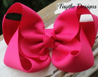 Shocking Pink 4 Inch Large Twisted Boutique Hair Bow, Shocking Pink, Pink, Hair Clip, Baby Bow, Girl Bow, Hairbows, Bows, Summer Bow, Spring