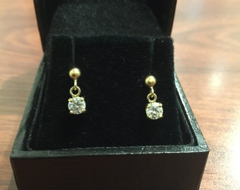 Gold and Cubic Zirconia Earrings