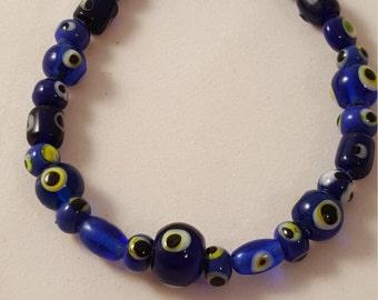 Blue Eyed - Glass Bead - Bracelet - Women's Bracelet - Blue Bracelet - Blue Women's Bracelet - Eye Bead - Eyes - Eye - Women's Eye Bracelet
