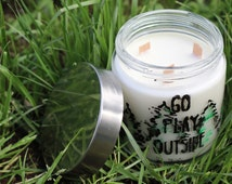 Sandalwood Scented Go Play Outside Candle with Green And Black Treeline- Triple Wood Wick