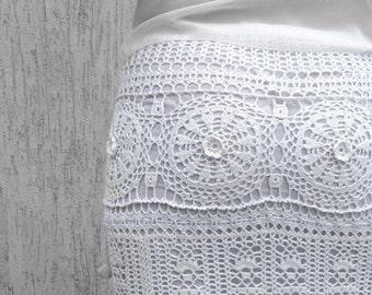 White maxi skirt wedding skirt bohemian skirt white long skirt crochet skirt cotton skirt boho dress wedding lace skirt crochet dress bridal