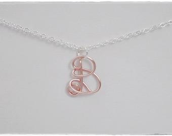 Initial B Wire Word Pendant Necklace Cursive, SALE!