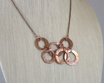 Bib Necklace - Hammered copper discs