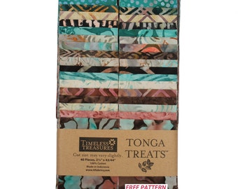 """Timeless Treasures Strip Treat  """"Topaz"""" 40- 2 1/2 inch strips - jelly roll - teal, coral, brown, cream, Strip Set"""
