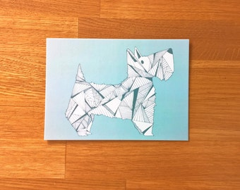 Scottish Terrier Postcard in blue matte finish