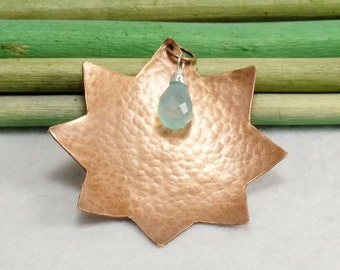Star Pendant, Domed Copper Pendant, Hammered Copper Star, Wire wrapped Chalcedony briolette