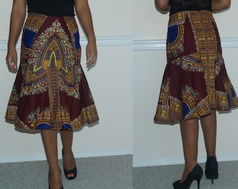 Dashiki Skirt, African Print Dashiki Skirt, African print skirt, African wax cotton skirt