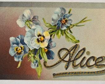 "Antique Embossed Name Postcard ""Alice"" 1909 (#32)"