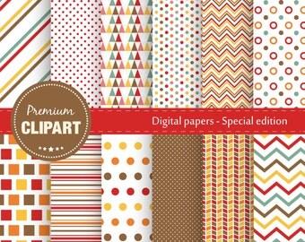 Premium thanksgiving digital papers, Geometric patterns, Digital paper, Vintage digital paper, Geometric papers - SE106