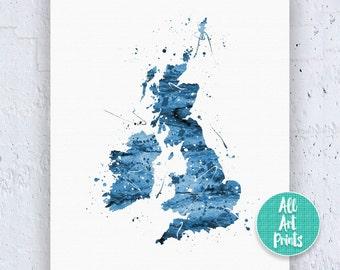 25% OFF: United Kingdom Print Great Britain Map Print UK Print UK Map Print Watercolor Printable Digital Download Art Instant Download Art