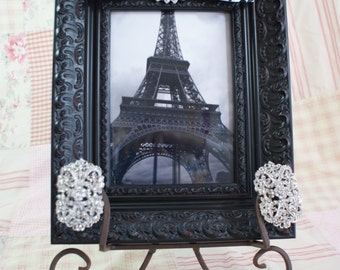 Black baroque 5x7 picture frame with ribbon and rhinestone embellishment