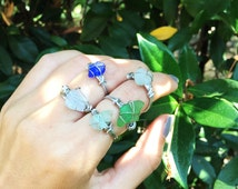 Cultured Sea Glass Wire Wrapped Ring, Sterling Silver Sea Glass Ring, Sterling Silver Wire Wrapped Sea Glass