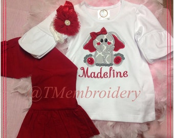 Cute little Valentine Elephant Appliqué Tunic Top W/Ruffle Corduroy Pants. Available in all sizes.