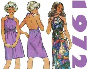 Halter Dress Pattern Long Halter Dress 1970s Dress Pattern SIMPLICITY 9927 sz 16 b 38 UNCUT Backless Dress Summer Dress Easy Dress Pattern