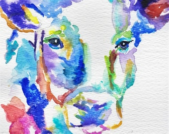 Cow, Farm Animals, Note Cards, Original Painting, Original Watercolor, Paintings,  Greeting Cards, Stationery, Note Cards, Blank Cards