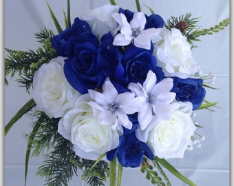 Royal blue bouquet, roses blue and white. Wedding bouquet.