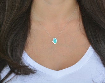 Unique design high quality sterling silver blue opal hamsa necklace. Fatima necklace. Silver hamsa necklace. Gold plated hamsa necklace.