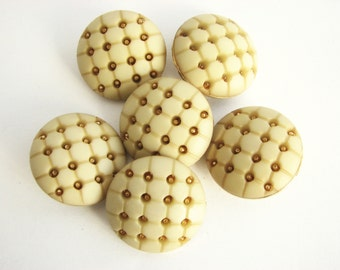 6 Creamy and gold tone buttons with shanks, unused plastic and metal buttons, 24 mm buttons