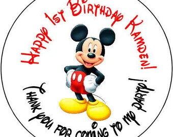 24 mickey mouse  Theme Birthday Party Stickers 1.67 inch Round Personalized kids
