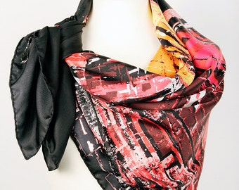 Black Abstract Oversize Square Scarf - Dry Dock