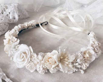 Floral crown, Bridal crown, bridal flower crown,white hair wreath, ivory flower crown, floral hair wreath, floral boho wreath