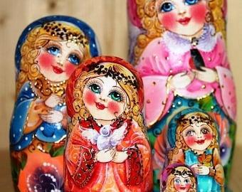 Russian matryoshka beauty Angel handmade
