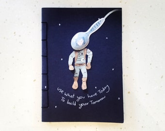Astronaut notebook, inspitational notebook, use what you have, dreams notebook, astronaut dreams, paper cut notebook, notebook for kids