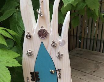 Handcrafted solid wood tooth fairy door