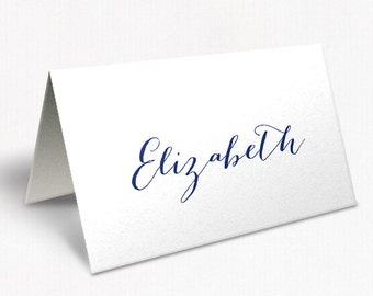 Navy Blue and White Wedding Place Cards, Modern Script Font, Classic Glam, Navy Soiree, DEPOSIT | Peach Perfect Australia
