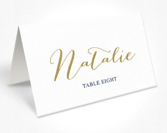 Modern Navy Blue and Gold Wedding Place Cards, Calligraphy Font, Folded Place Cards, Free Colour Changes, DEPOSIT | Peach Perfect Australia