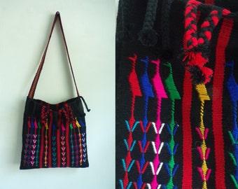 tapestry bag, colorful embroidered handbag, satchel bag, boho bag, 70s bag, long shoulder strap cross body bag, 1970s