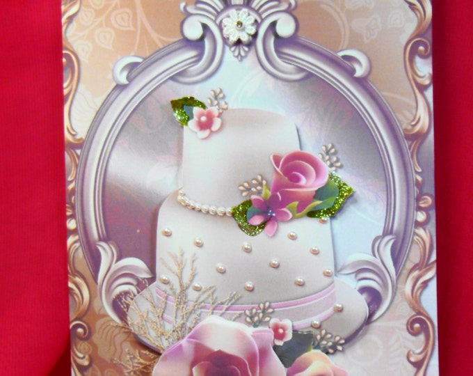 3D Decoupage Card, Wedding Day Card , Congratulations Card, Greeting Card, Wedding Cake, Pink Roses and Pearls