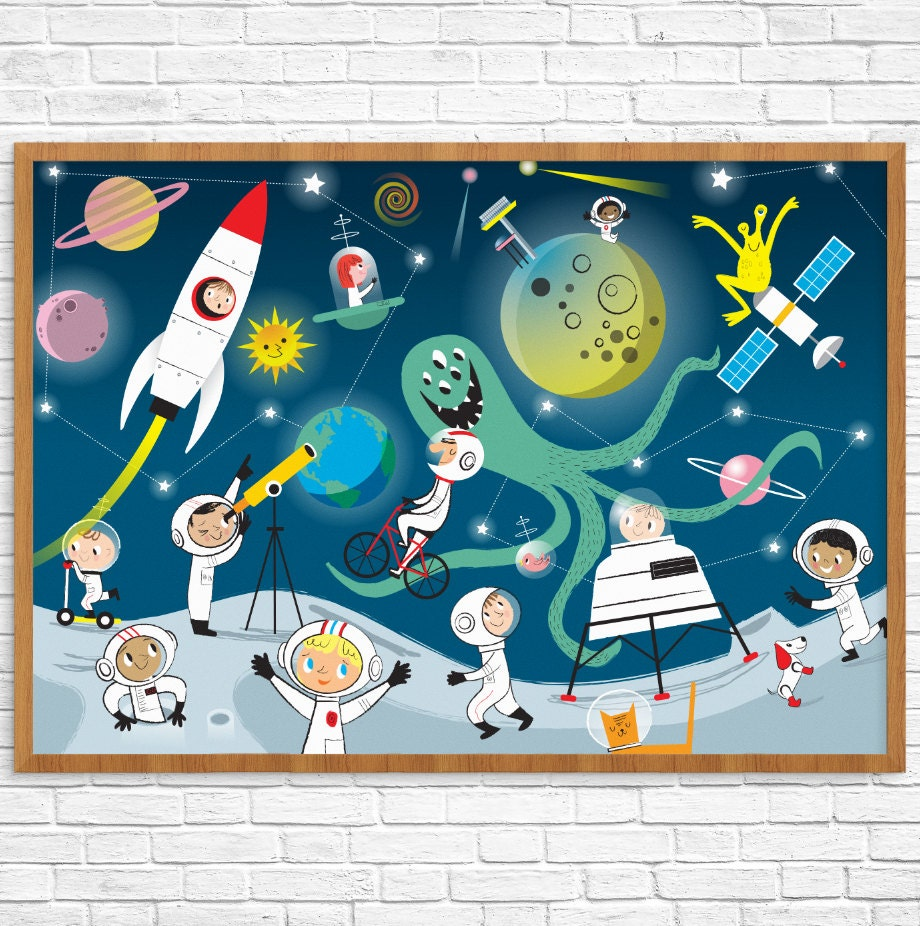 Outer Space Room Decor For Teen: OUTER SPACE Themed Children's Wall Art Or Print Boy's