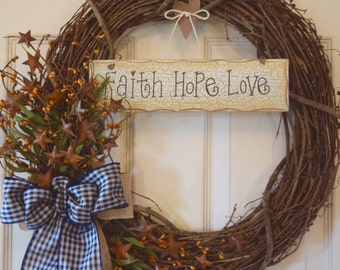 Faith Hope Love Grapevine with Rusty Tin Stars, Pip Berries and Gingham Ribbon; Primitive Wreath; Country Wreath; Rustic Wreath; Navy Brown