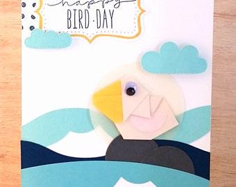 Handmade Origami Bird Birthday Card