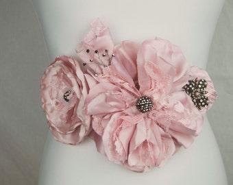 Verina Blush Pink Satin Lace and Rhinestone Bridal Sash Belt Wedding Accessory