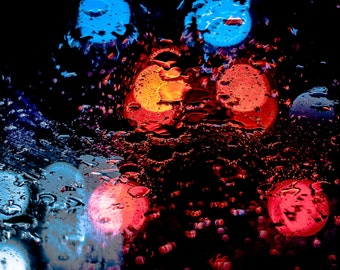 Late Night Rain Lights Photograph, Bokeh, Traffic, Midnight, Abstract, Colors, Street, Downtown, Wall Art, Large Print