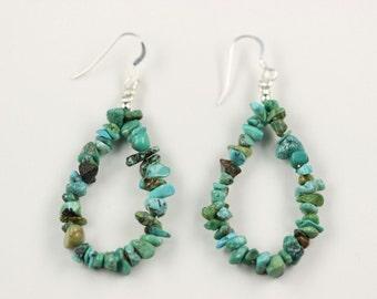 Native American Indian Jewelry Handmade Turquoise Chip Dangle Drop Earrings