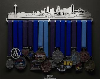 Seattle Cityscape - Allied Medal Hanger Holder Display Rack