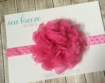 Large Pink Flower Headband