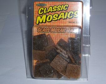 "Classic Mosaic Glass Tiles, 1"" square, 3oz, brown mix"