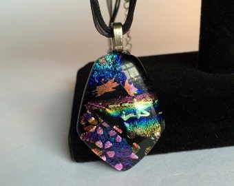 Multicolored Pentagram Dichroic Glass Pendant