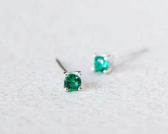 Tiny Emerald Earrings 925 Sterling Silver May Birthstone Emerald Stud Earrings