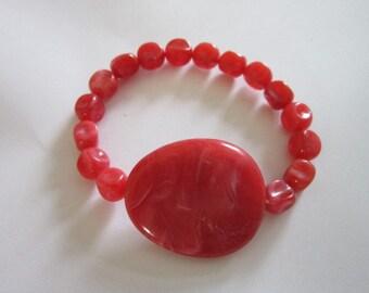 Vintage Stretchy RED Plastic Bracelet
