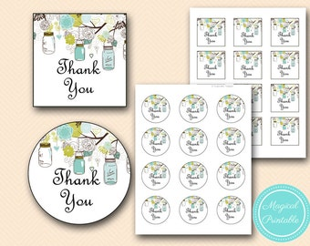 Instant Download Thank you Tags, Square Toppers, Printable Mason Jars Thank you tags, Printables toppers, PNN11, BS40 TLC146