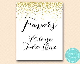 favors please take one sign, instant download, thank you sign, wedding sign, Faux Gold Bridal Shower Sign, baby Shower Sign BS46 SN32 tlc148