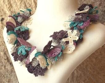 Turkish OYA Lace - Necklace - Bijou - Purple