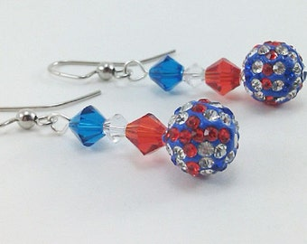 Red White and Blue Swarovski Crystals Handmade One-of-a-Kind Beaded Gemstone Earrings with Crystal Encrusted Bead, Patriotic