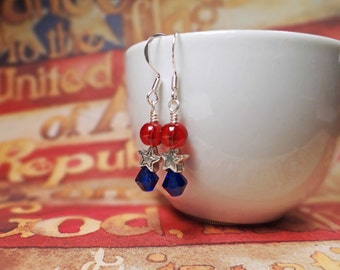 4th of July earrings, July 4th earrings, Patriotic red white & blue earrings, Independence day earrings, Red white and blue star earrings