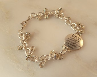 Silver Link Definition of Love Bracelet